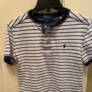 Boys Henley tee size 10 - blue/white striped